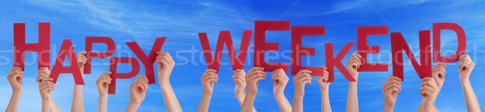 Stock fotó: Emberek · kezek · tart · piros · szó · boldog