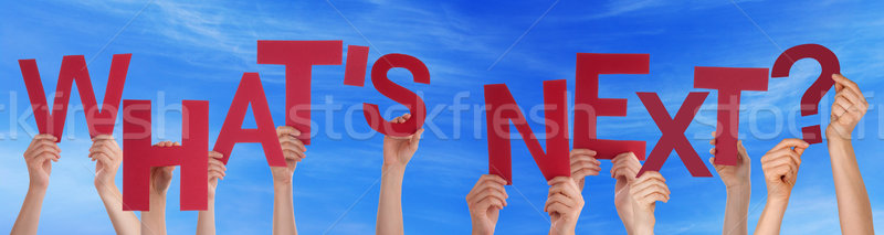 People Hands Holding Red Word Whats Next Blue Sky Stock photo © Nelosa