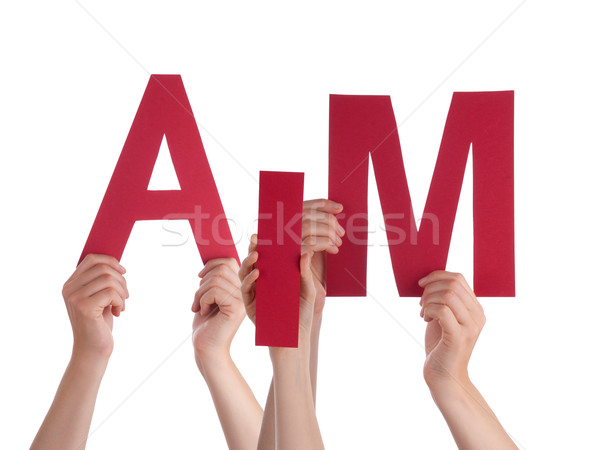 Many People Hands Holding Red Word Aim  Stock photo © Nelosa