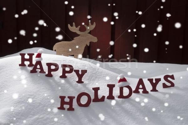 Felice vacanze neve fiocchi di neve Moose Foto d'archivio © Nelosa