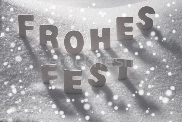 White Word Frohes Fest Means Merry Christmas On Snow, Snowflakes Stock photo © Nelosa