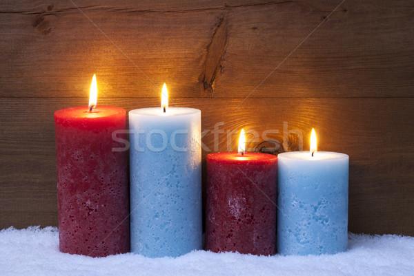 Karácsonyi üdvözlet négy gyertyák advent karácsony dekoráció Stock fotó © Nelosa
