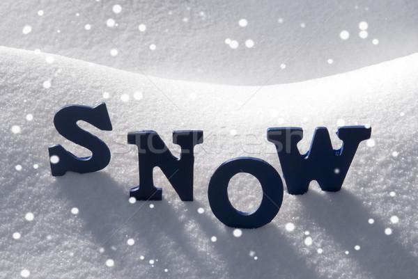 Blue Word Snow With Snowflakes Stock photo © Nelosa