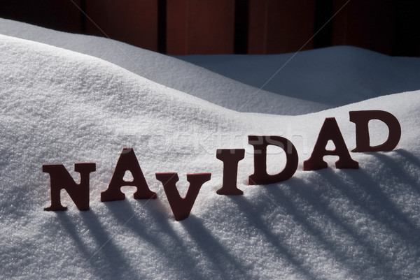Card With Snow And Word Navidad Mean Christmas Stock photo © Nelosa