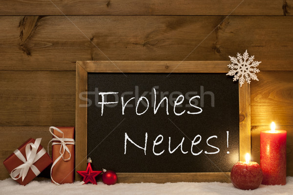 Christmas Card, Blackboard, Snow, Frohes Neues Mean New Year Stock photo © Nelosa
