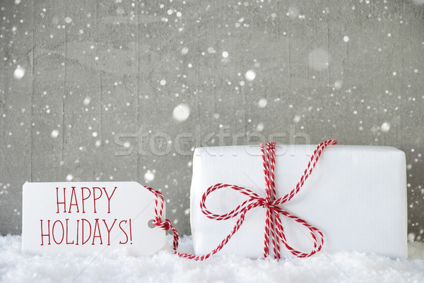 Gift, Cement Background With Snowflakes, Text Happy Holidays Stock photo © Nelosa