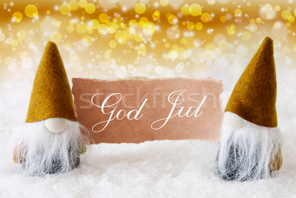 Golden Gnomes With Card, God Jul Means Merry Christmas Stock photo © Nelosa