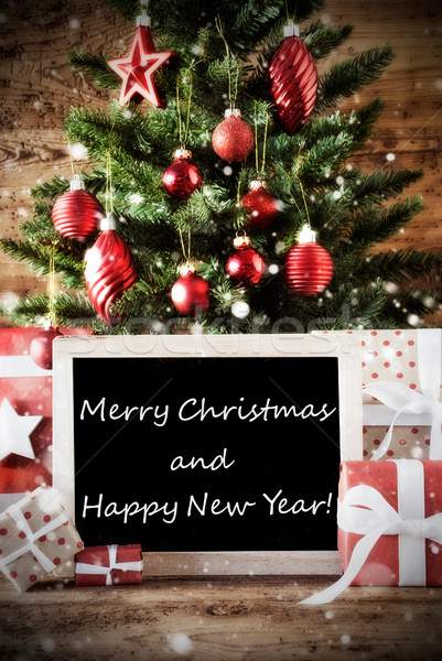 Stock photo: Tree With Merry Christmas And Happy New Year