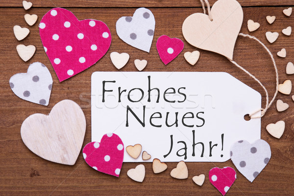 Label, Pink Hearts, Frohes Neues Jahr Means Happy New Year Stock photo © Nelosa