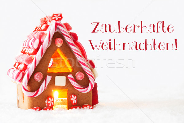 Gingerbread, White Background, Zauberhafte Weihnachten Means Magic Christmas Stock photo © Nelosa