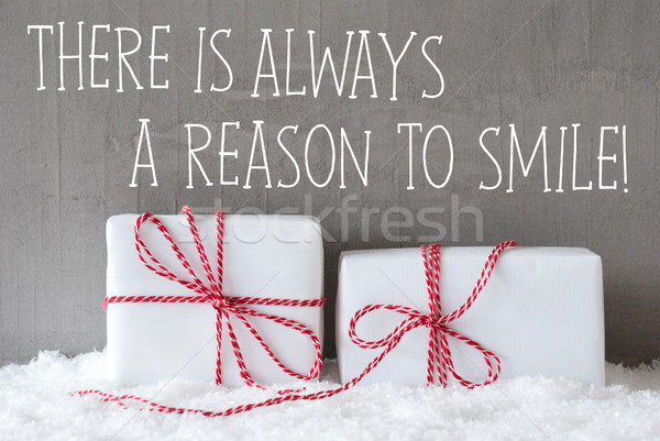 Two Gifts With Snow, Quote Always Reason To Smile Stock photo © Nelosa
