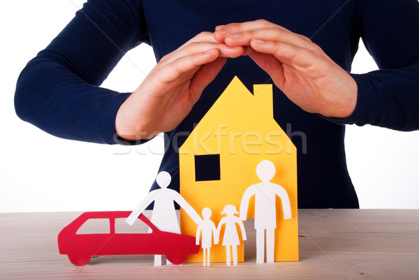 Hands Protecting House, Family and Car Stock photo © Nelosa