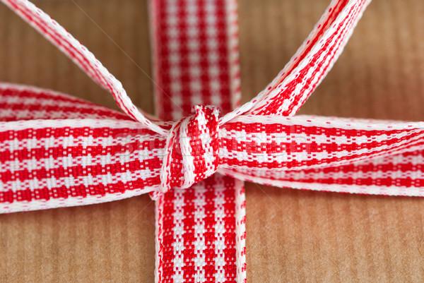şerit düğüm kırmızı beyaz kahverengi Stok fotoğraf © Nelosa