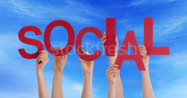 Hands Holding Social in the Sky Stock photo © Nelosa