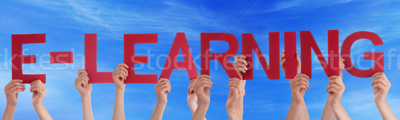 Many People Hands Holding Red Straight Word Elearning Blue Sky Stock photo © Nelosa