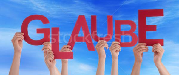 Pessoas palavra crença blue sky muitos Foto stock © Nelosa