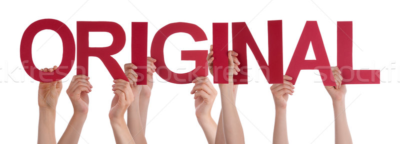 Many People Hands Holding Red Straight Word Original Stock photo © Nelosa