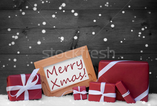 Red Gray Christmas Decoration, Gifts, Snow,Flakes,Merry Xmas Stock photo © Nelosa