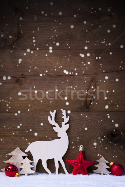 Vertical Red Christmas Card With Copy Space On Snow, Snowflakes Stock photo © Nelosa