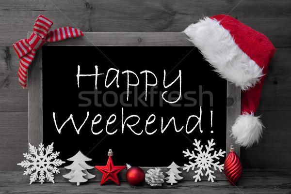 Blackboard Santa Hat Christmas Decoration Happy Weekend Stock photo © Nelosa