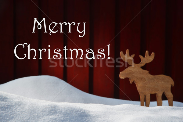 Card With Merry Christmas, Snow And Moose Stock photo © Nelosa