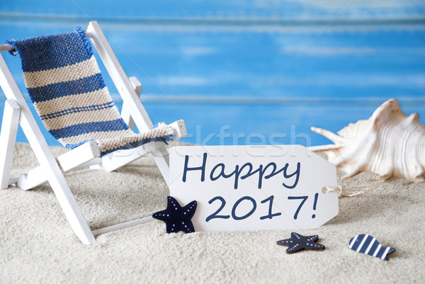 Summer Label With Deck Chair And Text Happy 2017 Stock photo © Nelosa