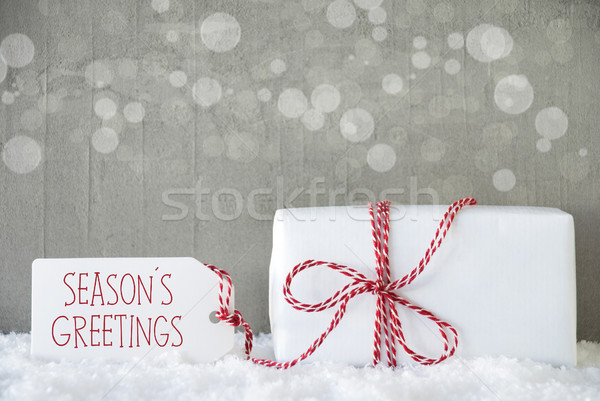 Gift, Cement Background With Bokeh, Text Seasons Greetings Stock photo © Nelosa