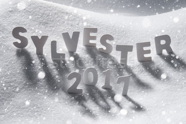 Sylvester 2017 Means New Years Eve, White Letters, Snow, Snowflakes Stock photo © Nelosa