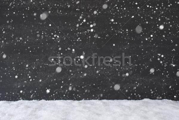 Negro cemento pared nieve textura Foto stock © Nelosa