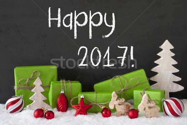 Christmas dekoracji cementu śniegu tekst szczęśliwy Zdjęcia stock © Nelosa
