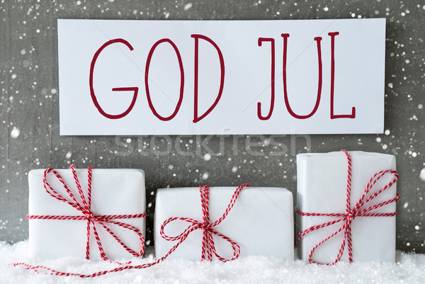 White Gift With Snowflakes, God Jul Means Merry Christmas Stock photo © Nelosa