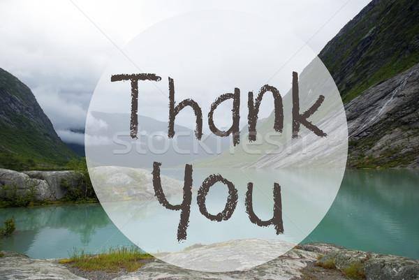 Lake With Mountains, Norway, Text Thank You Stock photo © Nelosa