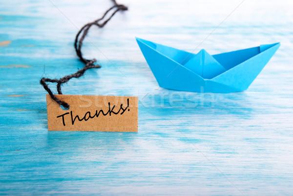 Gracias etiqueta barco playa mar servicio Foto stock © Nelosa