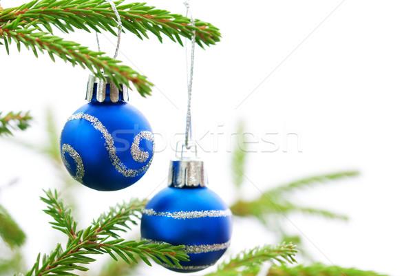 Foto stock: Natal · dois · azul · verde