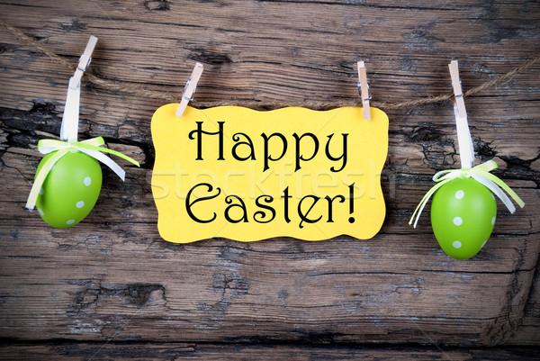 Citromsárga húsvét címke kellemes húsvétot akasztás vonal Stock fotó © Nelosa