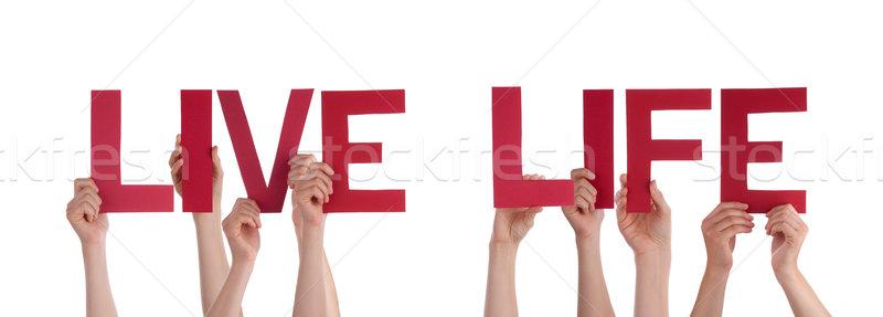 Ludzi ręce czerwony prosto słowo Zdjęcia stock © Nelosa