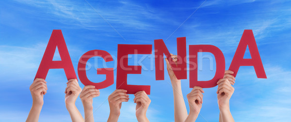 Many People Hands Holding Red Word Agenda Blue Sky Stock photo © Nelosa