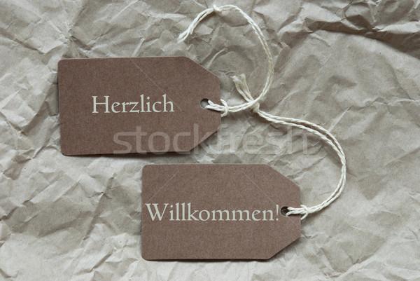 Two Labels Herzlich Willkommen Mean Welcome Paper  Stock photo © Nelosa