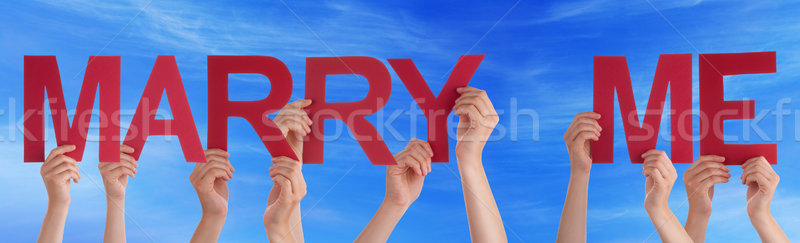 People Hands Holding Red Straight Word Marry Me Blue Sky Stock photo © Nelosa