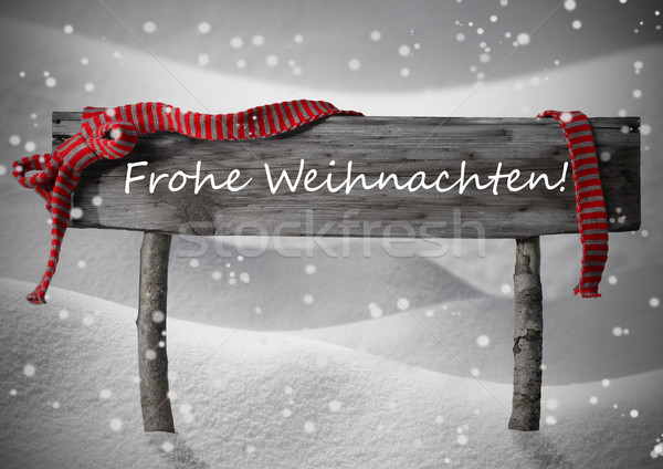 Sign Frohe Weihnachten Means Merry Christmas,Snow, Snowfalkes Stock photo © Nelosa
