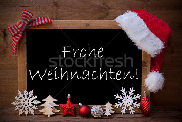 Brown Blackboard Santa Hat Frohe Weihnachten Mean Christmas  Stock photo © Nelosa