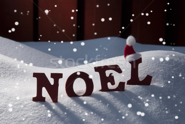 Card With Santa Hat And Snow, Natale Mean Christmas, Snowflakes Stock photo © Nelosa