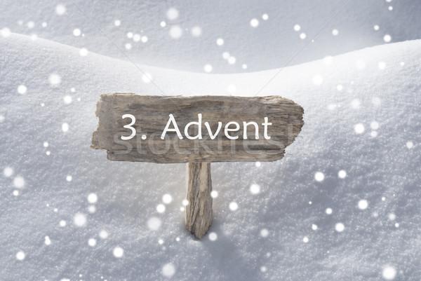 Sign Snow Snowflakes 3 Advent Means Christmas Time Stock photo © Nelosa