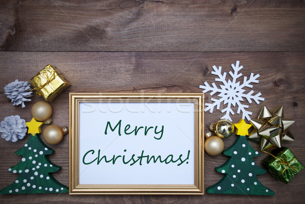 Frame With Decoration And Text Merry Christmas Stock photo © Nelosa