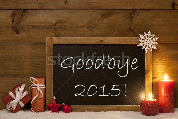 ünnepi karácsonyi üdvözlet iskolatábla hó gyertyák viszlát Stock fotó © Nelosa