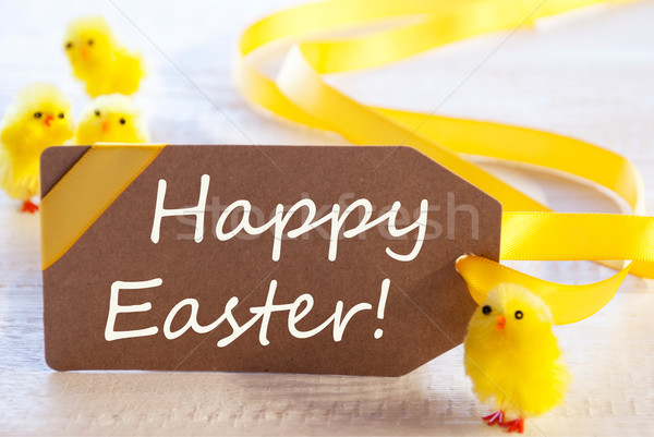 Label With Chicks, Text Happy Easter Stock photo © Nelosa