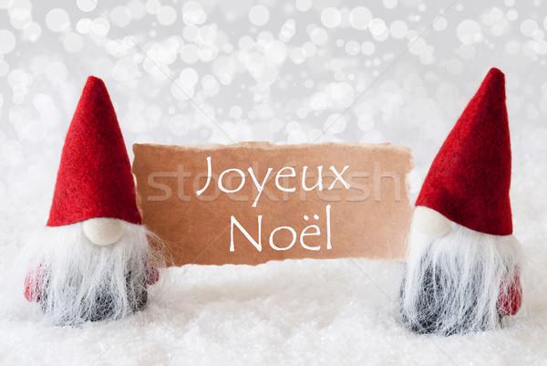 Rosso carta allegro Natale biglietto d'auguri due Foto d'archivio © Nelosa