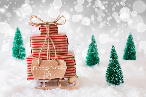 Stockfoto: Christmas · slee · witte · nieuwjaar · geschenken · presenteert