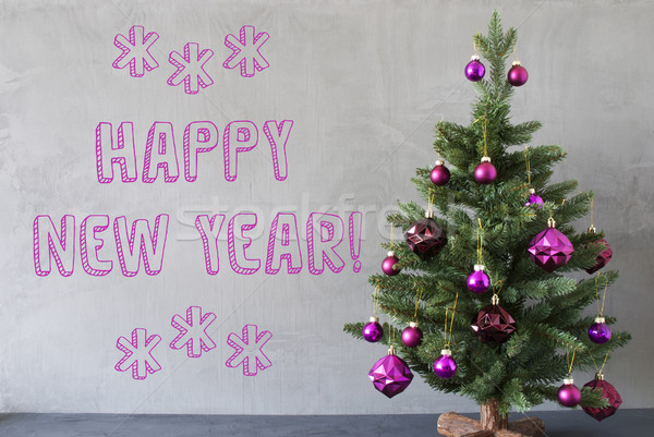 Arbre de noël ciment mur texte happy new year pourpre Photo stock © Nelosa