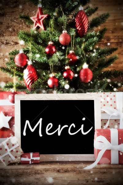 Stock photo: Christmas Tree With Merci Means Thank You